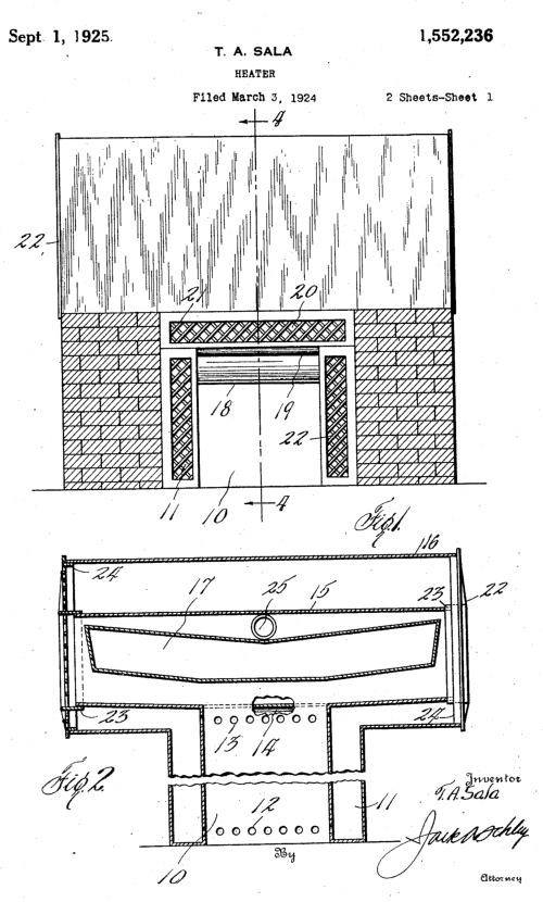 Sala Air Conditioning Fireplace Heater Patent 01497123
